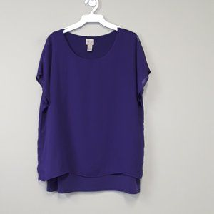 Easywear by Chico's Purple Layered slit back Top